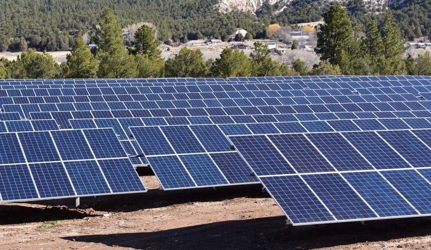 solar arrays in an open landscape