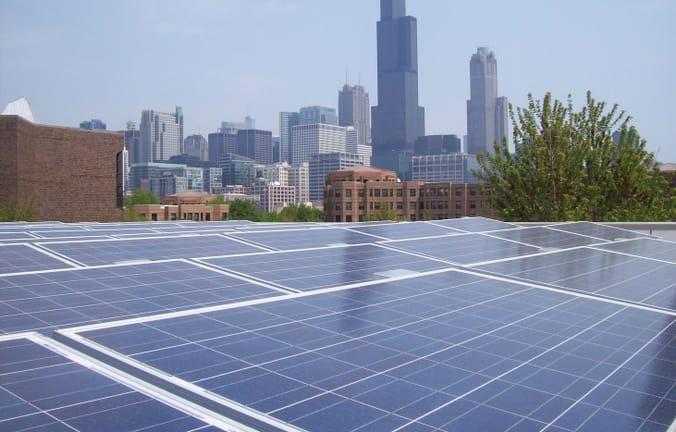 solar panels against the Chicago skyline
