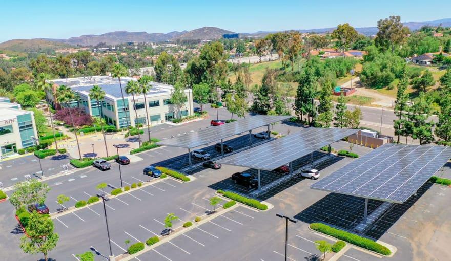 solar panels over parking lot