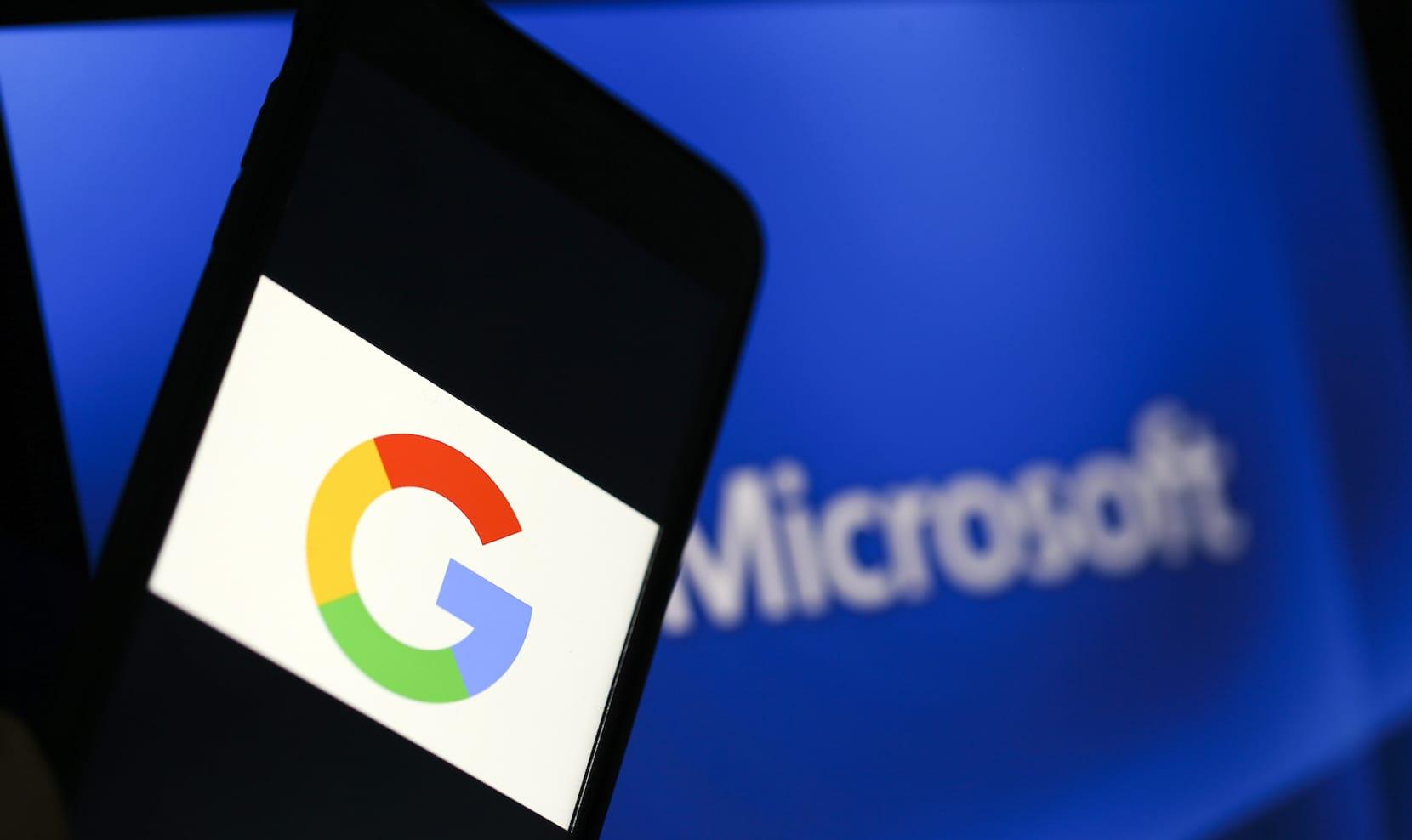 Google and Microsoft logos