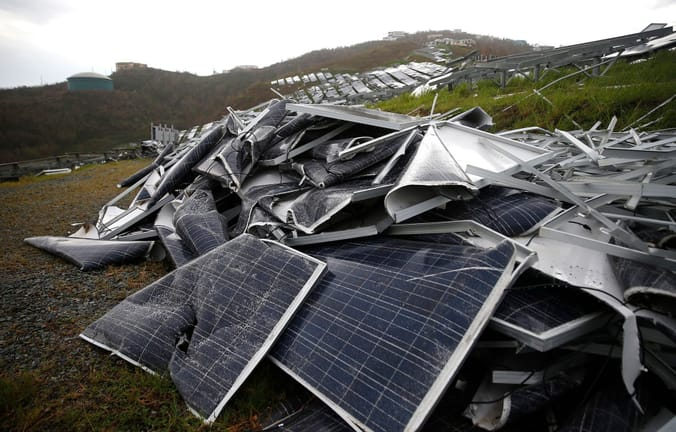 Solar panels destroyed by hurricane